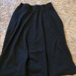 Black midi length skater skirt